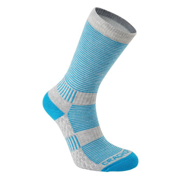 Heat Regulating Travel Sock Aegean Blue / Dove Grey