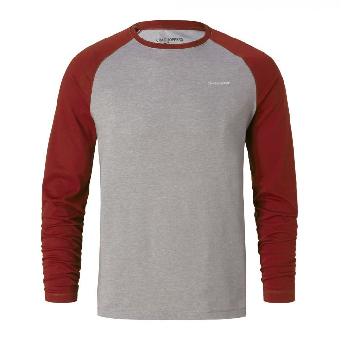 NosiLife Bayame Long-Sleeved Tee Red Earth / Soft Grey Marl