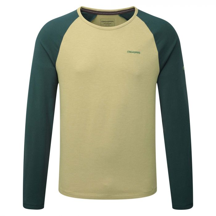 Maple Langarm T-shirt Light Olive Marl/Asteroid Green