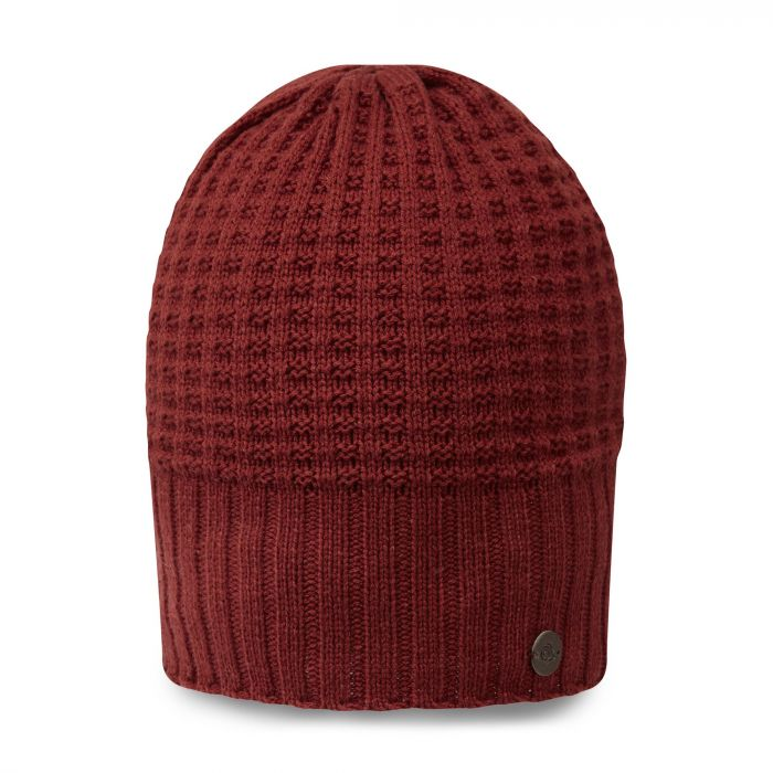 Unisex Brompton Waffle Knit Beanie Hat - Firth Red / Platinum / Black