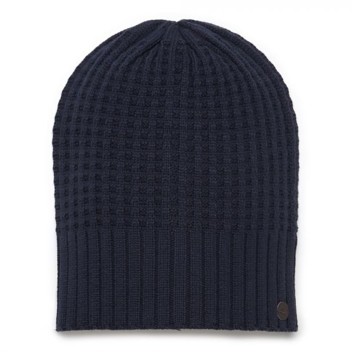 Unisex Brompton Waffle Knit Beanie Hat - Soft Navy