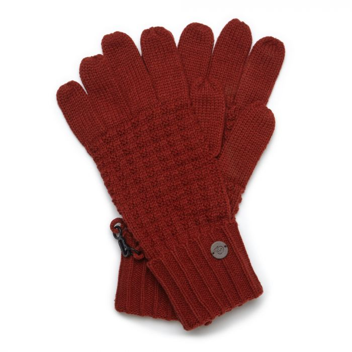 Unisex Brompton Waffle Knit Gloves - Firth Red / Platinum / Black