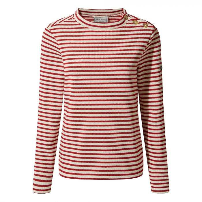 Balmoral Crew Neck Fleece - Calico / Fire Red Stripe