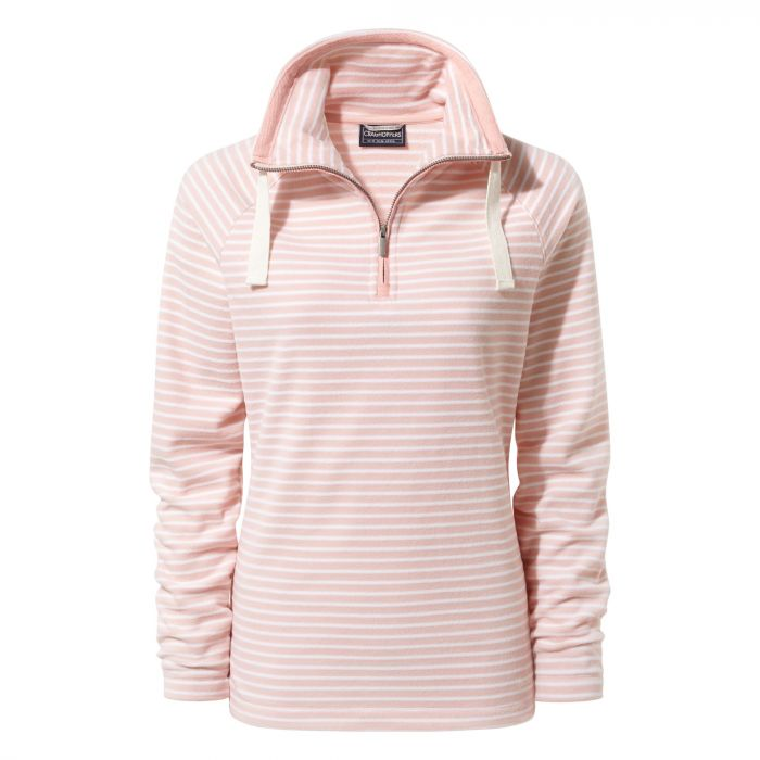 Rhonda Hal-Zip Fleece Blossom Pink Stripe