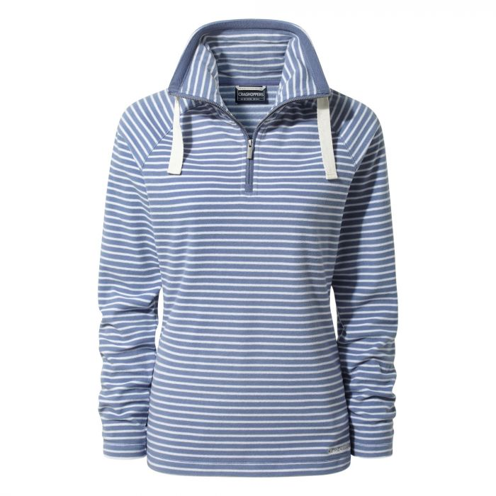 Rhonda Hal-Zip Fleece China Blue Stripe