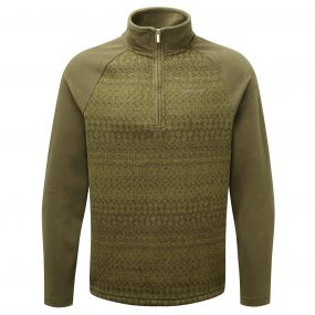 Elliston Zip Neck Jumper Dark Moss