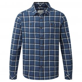 Gillam Long-Sleeved Check Shirt Vintage Indigo