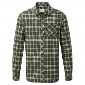 Brigden Long-Sleeved Check Shirt Parka Green