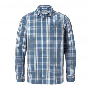 Blayney Long-Sleeved Check Shirt Ocean Blue