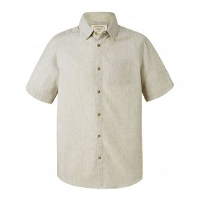 Evans Short-Sleeved Shirt Olive Green Stripe