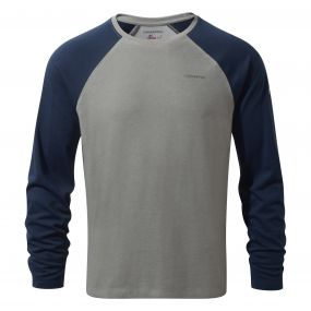 NosiLife Bayame Long-Sleeved Tee Soft Grey Marl / Night Blue