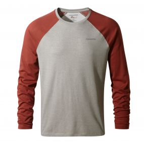 NosiLife Bayame Long-Sleeved Tee Soft Grey Marl / Carmine Red