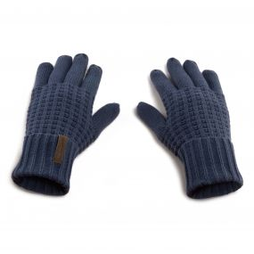 Unisex Brompton Waffle Knit Gloves Soft Navy