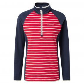 Tille Half Zip Fiesta Red Stripe Soft Navy