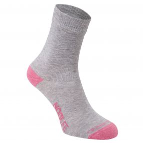 NosiLife Twin Sock Pack Soft Grey Marl / English Rose Stripe