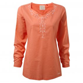 Rayna Long-Sleeved Top Bright Papaya