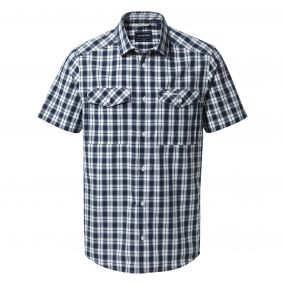 Crooble Short-Sleeved Shirt Blue Navy Check