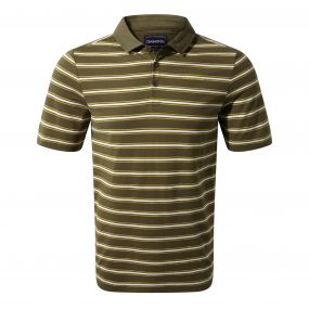 Geraldton Short-Sleeved Polo Dark Moss Stripe